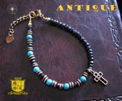 ブレスレット アンティーク(3)クロス メイン 古美加工アンティーク金色天然石十字架フリーサイズ