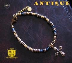 ブレスレット アンティーク(4)クロス メイン 古美加工アンティーク金色天然石十字架フリーサイズ