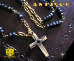 ネックレス・アンティーク(2)/古美加工ネックレス真鍮製・ブラスネックレス十字架・クロス送料無料