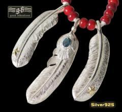 【GV】レザーホワイトハートネックレス(7)/・フェザーネックレス・ビッグイーグル・羽根・動物・鳥・天然石・トパーズ・シルバー925(送