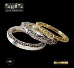 good vibrations(GV)3連リング(1)5号 7号 9号 11号 メイン 銀製金色 ターコイズ 指輪