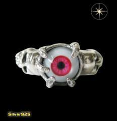 義眼リング(5)赤15号・17号・19号/(メイン)義眼使用・指輪・リング・シルバー925製・銀