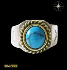ターコイズリング(3)金縄15号16号17号18号19号20号21号22号23号24号25号 メイン ネイティブ天然石 指輪製 銀