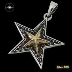 スターペンダント(10)SV+B メイン 銀 ペンダント 星 ネックレス