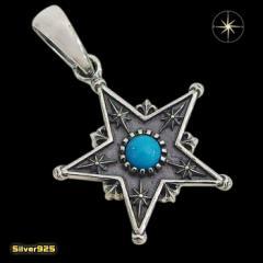 スターペンダント(13)ターコイズ メイン 銀 ペンダント 星 天然石 ネックレス