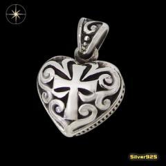 ハートクロスペンダント(1) 銀 ペンダント 十字架 クロス ネックレス