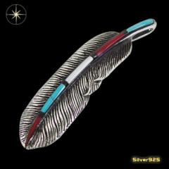 フェザーペンダント(29)ターコイズ メイン 銀 ペンダント 羽根 フェザー 鳥 ネックレス