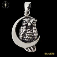 フクロウと月のペンダント(2) メイン 銀 ペンダント 動物 ムーン 鳥 ネックレス