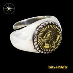 good vibrations(GV)シェイクハンドフリーメイソンの指輪(1)SV+B13号フリーサイズ メイン 指輪 リングプロビデンスの目