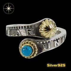 コインパーツリング(1)SV+Bターコイズ13号フリーサイズ メイン 銀貨 天然石 ターコイズ 指輪 銀