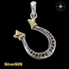 ホースシュー(11)BCZ SV+B メイン 馬蹄 蹄鉄 金色 ペンダント ネックレス 銀