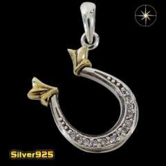 ホースシュー(11)CZ SV+B メイン 馬蹄 蹄鉄 金色 ペンダント ネックレス 銀