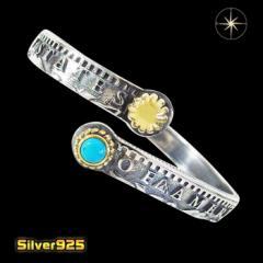 コインバングル(1)SV+Bターコイズ/【メイン】 銀貨 コイン ターコイズ   シルバー925銀  メンズ