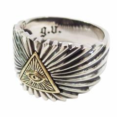 (GV)プロビデンスの目の指輪(8)SV+B17号 19号 21号 23号 メイン 銀 フリーメイソン 指輪 リング