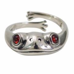 カエルの指輪(5)ガーネット15号フリーサイズ メイン 銀 蛙 かえる 指輪 リング