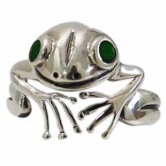 カエルの指輪(6)グリーンCZ07号 09号 11号 13号 15号 17号 19号 21号 23号 25号 メイン 銀 蛙 リング