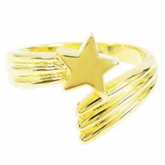 18KGコーティング ブラス製流れ星の指輪(1)07号・09号・11号・13号・15号・17号・19号(メイン) 送料無料 流星 スター 星 18金 リング