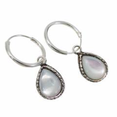 しずく型ピアス(4)白シェル2個セット(メイン) ピアス イヤリング シルバー925 銀 送料無料 天然石    メンズ レディース