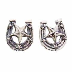 ホースシュースターピアス(3) 2個1組 メイン ピアス イヤリング 銀 スター 星馬蹄 蹄鉄