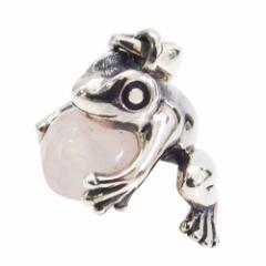 カエルのペンダント(18)ローズクォーツ メイン 銀 ペンダント ネックレス 蛙 かえる 両生類 天然石