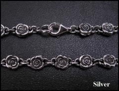 バラのネックレス50cm 花薔薇 メイン 銀シルバーチェーン人気