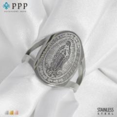 ステンレス リング(142)マリア 銀色(メイン) 指輪 金属アレルギー対応 レディース メンズ 送料無料