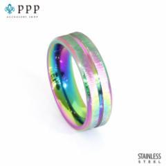 ステンレス リング(147)虹色(メイン) 指輪 金属アレルギー対応 レディース メンズ 送料無料