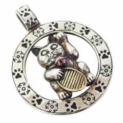 oriental vibrations(OV)招き猫のペンダント(1)SV+B 銅 メイン 銀 和風 日本 ネコ キャット