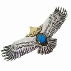 イーグルペンダント(3)ターコイズ イブシあり メイン 銀 トルコ石 天然石 鳥 ネイティブジュエリー