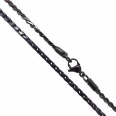 ステンレスネックレス デザインチェーン(23)黒 選択可45cm 50cm 55cm 60cm サージカルステンレス316L