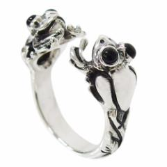 カエルの指輪(オニキス)11号フリーサイズ メイン 銀 オニキス 天然石 リング 蛙