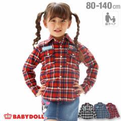 50%OFF SALE_FW 親子お揃い ワッペンネルシャツ 1882K ベビードール 子供服 ベビーサイズ キッズ 男の子 女の子