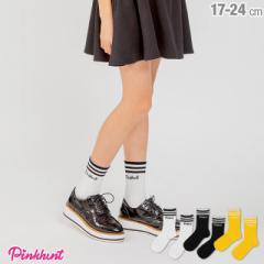 NEW PINKHUNT ピンクハント ライン ソックス 2132 ベビードール 子供服 雑貨 靴下 キッズ ジュニア 女の子 小学生 中学生 PH