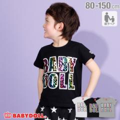 4/10NEW 親子お揃い レインボーヒョウ 箔 Tシャツ 2292K ベビードール BABYDOLL ベビーサイズ キッズ 男の子 女の子