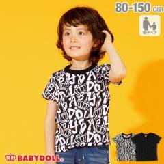 4/10NEW 親子お揃い ロゴ総柄 Tシャツ 2297K ベビードール BABYDOLL ベビーサイズ キッズ 男の子 女の子