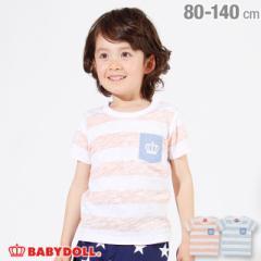 4/19NEW ポケット ボーダー Tシャツ 2440K ベビードール 子供服 ベビーサイズ キッズ 男の子 女の子