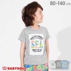 4/12NEW リゾート柄 貼付 Tシャツ 2443K (ボトム別売) ベビードール 子供服 ベビーサイズ キッズ 男の子 女の子