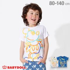 4/12NEW ディズニー キャラクター ネオン Tシャツ 2486K ベビードール 子供服 ベビーサイズ キッズ 男の子 女の子 /DISNEY