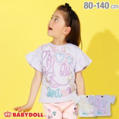 4/12NEW ディズニー BIGフェイス ラメ Tシャツ 2491K ベビードール 子供服 ベビーサイズ キッズ 男の子 女の子 /DISNEY