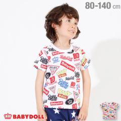 4/22NEW ロゴ 総柄 Tシャツ 2572K ベビードール 子供服 ベビーサイズ キッズ 男の子 女の子
