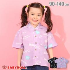 6/4〜 50%OFF SALE ロゴ総柄 ボーリング シャツ 4984K ベビードール 子供服 ベビーサイズ キッズ 女の子