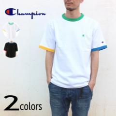 チャンピオン Champion ウェア ショートスリーブ リンガーTシャツ C3-T341 ホワイト/グリーン(014) ブラック(090)