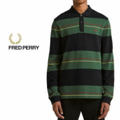 フレッドペリー FRED PERRY ポロシャツ パネルストライプ ピケシャツ ネイビー M5506-608