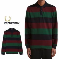 フレッドペリー FRED PERRY ポロシャツ エンラージストライプ ピケシャツ ネイビー M5509-608