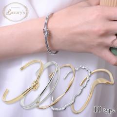 バングル ブレスレット ブレス メタル 細身 ノット 結び目 2連風 シンプル Luxurys ゴールド シルバー