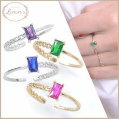 指輪 リング スクエア キュービック ジルコニア ビジュー カラー キラキラ Luxurys ラグリーズ ゴールド シルバー 送料無料