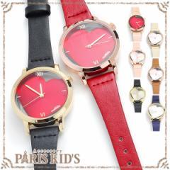 【 メール便 送料無料 】 腕時計 レディース フェイクレザー ハート シンプル ピンク レッド ブラック かわいい 個性的 ホワイト
