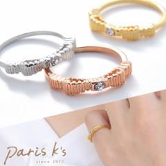 指輪 リング ピンキーリング リボン りぼん ラインストーン ゴールド シルバー ピンクゴールド 送料無料