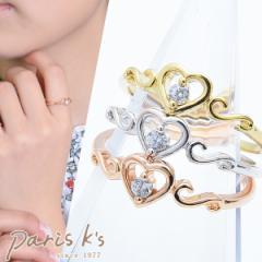 【 メール便 送料無料 】 リング 指輪 ハート キュービック CZ キラキラ 可愛い ゴールド シルバー ピンクゴールド