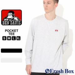 秋新作 ベンデイビス Tシャツ 長袖 クルーネック ヘビーウェイト ポケット メンズ 大きいサイズ USAモデル|ブランド BEN DAVIS|ロンT